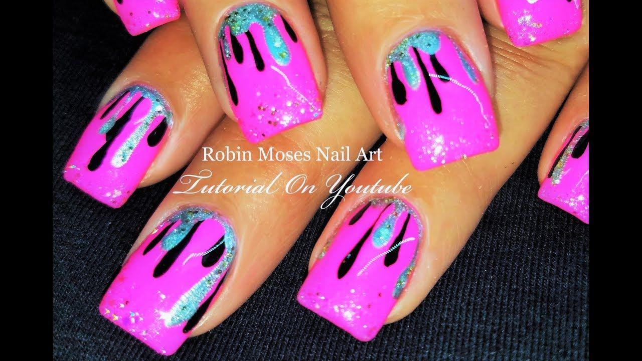 Hot Pink and Black Drip Nails | Cute and Trendy DIY Nail Art Design ...
