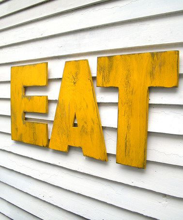 Another great find on #zulily! Yellow \'Eat\' Uppercase Letter Wall ...