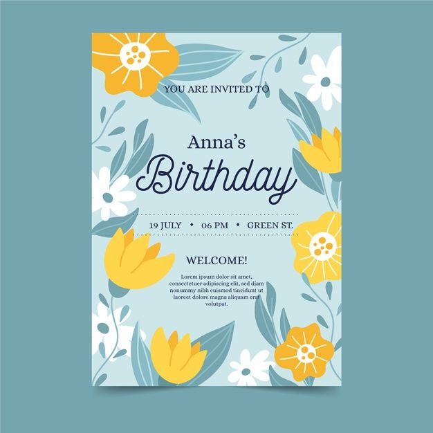 floral birthday invitation template free  free vector