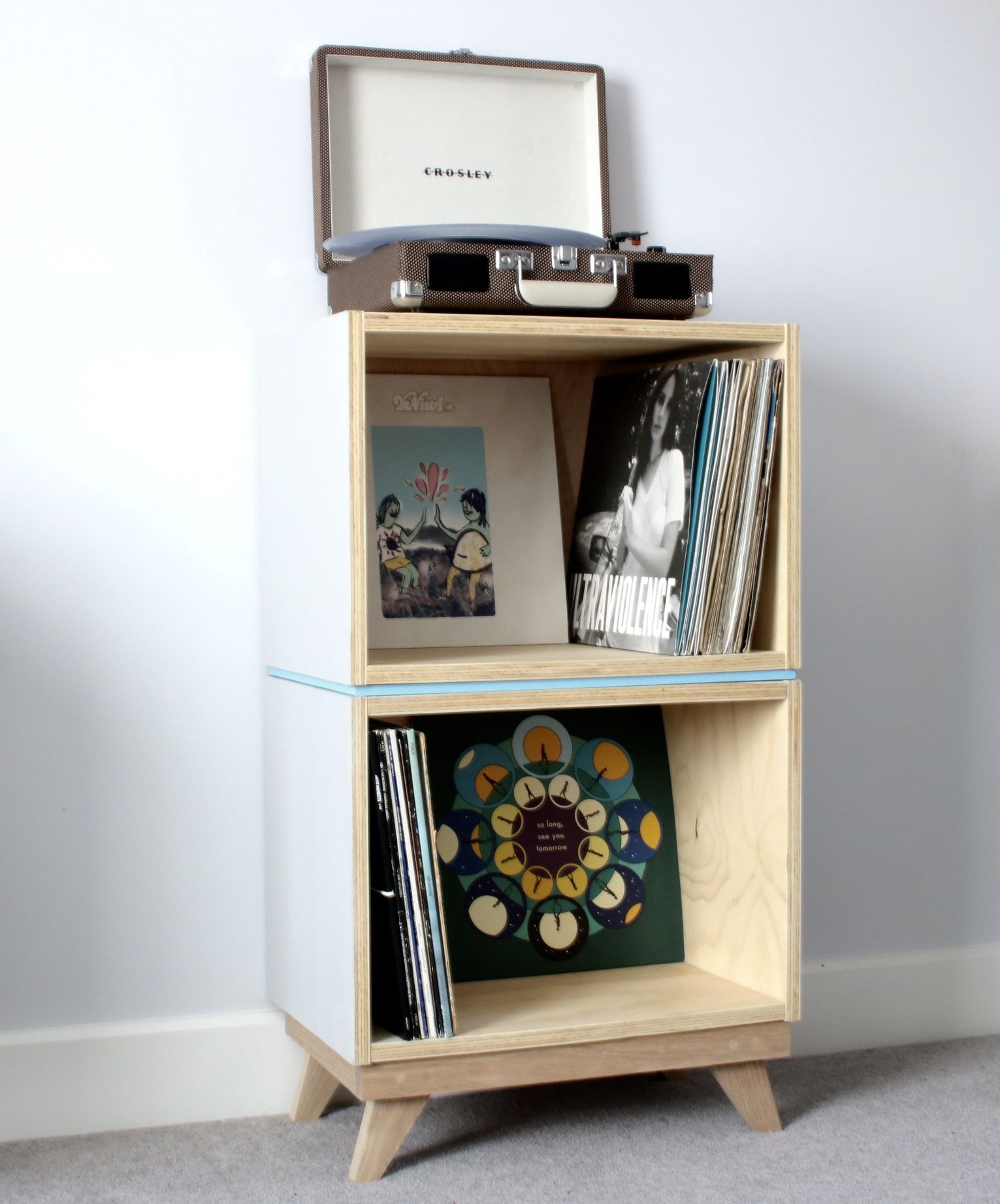 Retro style plywood record cabinet shelving Made by Jane Handford