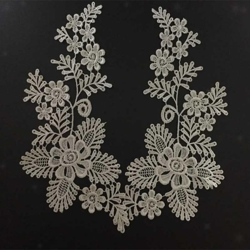 1 Pair Polyester Venise Lace Applique Trims Craft For Sewing Black Off White