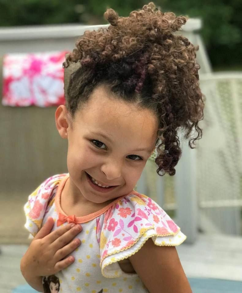 Another stylish kids hairstyle idea for the curly hair is