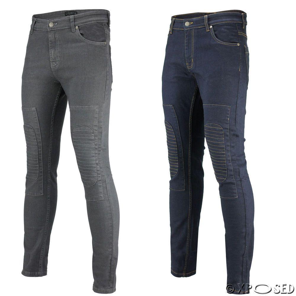 abe0029e8a9f New Mens Blue Grey Skinny Fit Jeans Padded Knee Biker Panels Super Stretch  Denim