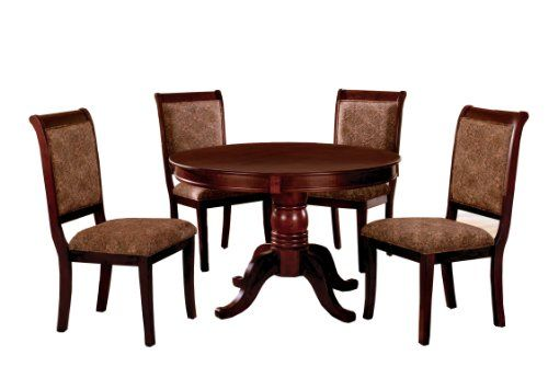 Furniture of America Bernette 5 Piece Round Dining Table Set