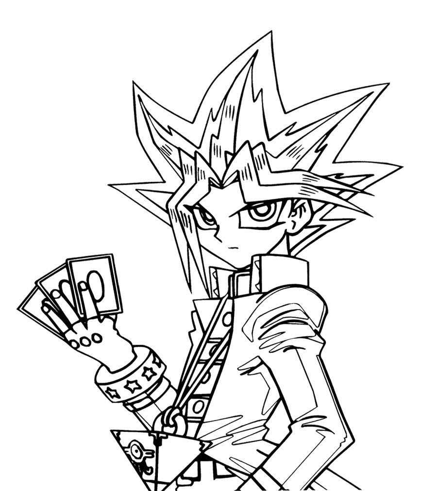 Yu Gi Oh Will Put Three Cards Coloring Page For Kids Monster Coloring Pages Cartoon Coloring Pages Coloring Books