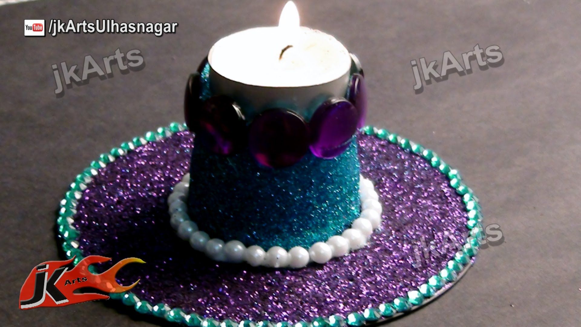 Diy Glitter Candle Holder Best Out Of Waste Dvd And Plastic Glass Jk Arts 409 Glitter Candles Diy Glitter Candles Glitter Candle Holders