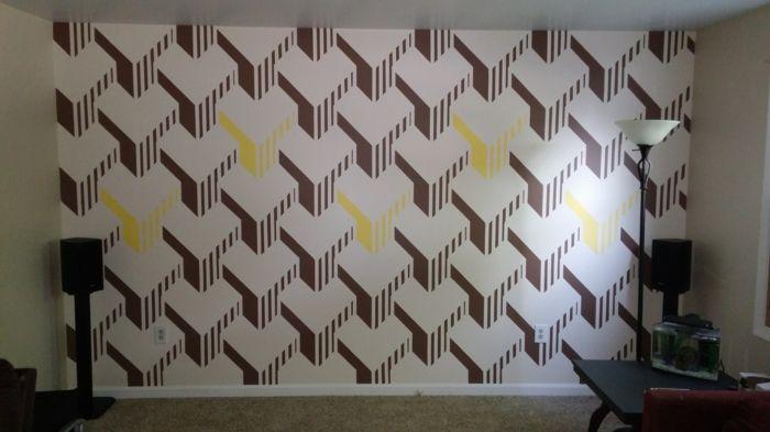 Gut Kreative Wandgestaltung Wandgestaltung Farbgestaltung ähnliche Farben 3D  Effekt Braun Weiß