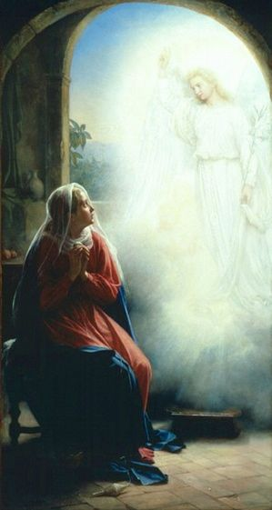 Image result for virgin mary anninciation praying oil painting