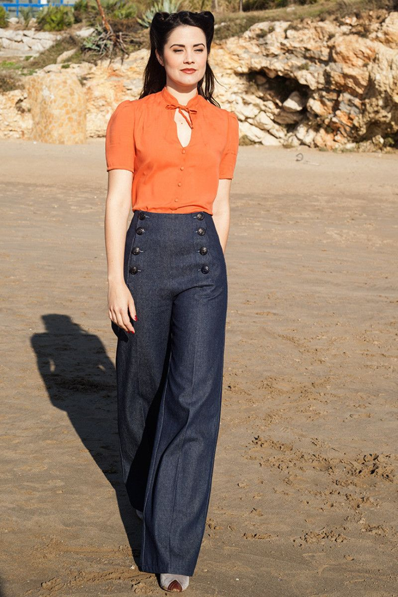 aff1a49ceee8 1930s Women s Pants and Beach Pajamas Sailor Pants Denim €98.00 AT  vintagedancer.com