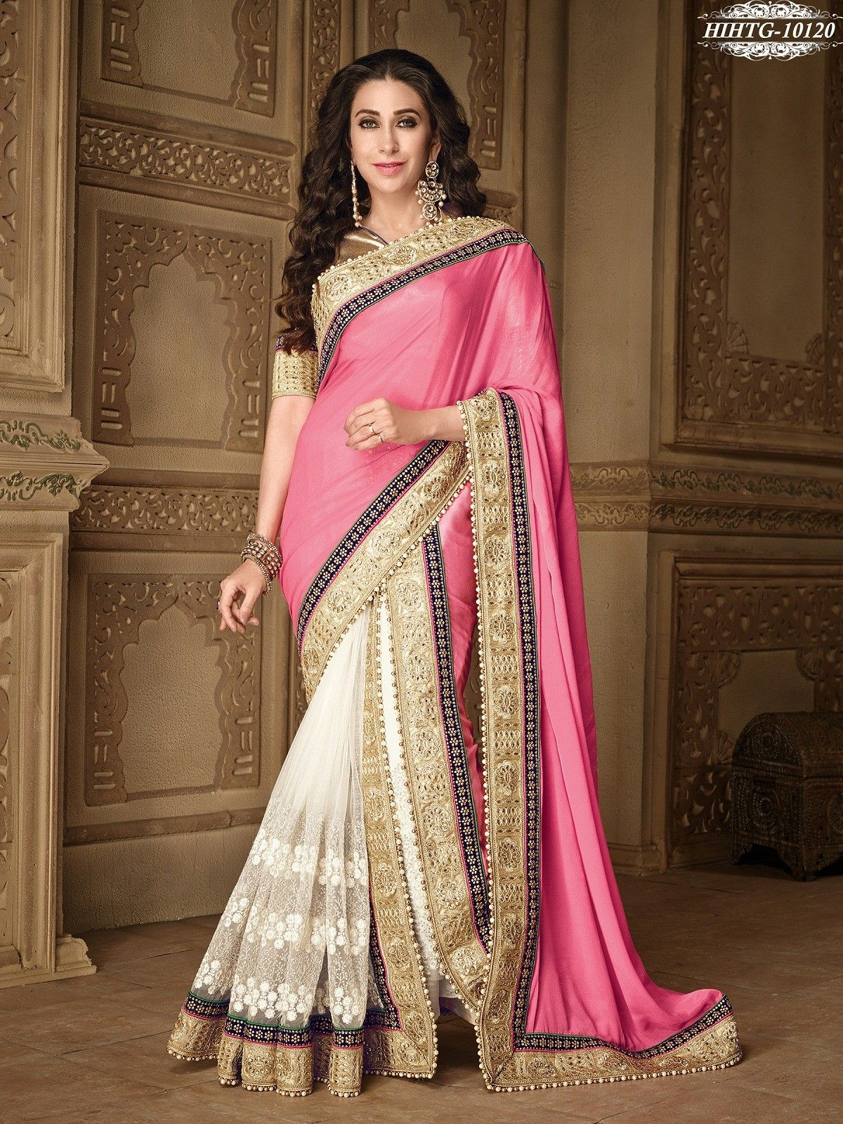 29646e2ae0dd2 Pink   White Colour Net   Chiffon Embroidery 2 Part Saree With Unstitched  Blouse Piece  bandbaajaa.com  bandbaajaa  weddingsarees  weddingsaris ...