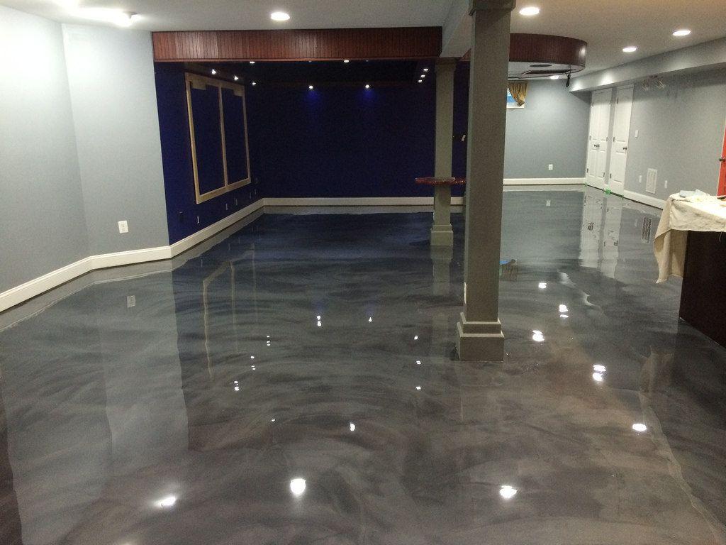 Designer epoxy basement floor in Manassas, VA.