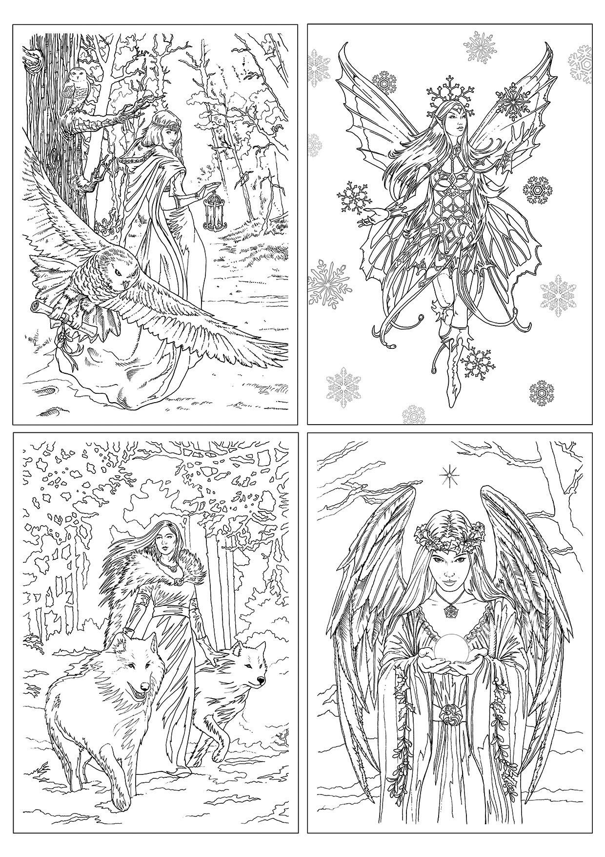 Winter Fantasy Color In Card 4 Pack Fairy Coloring Pages Fairy Coloring Book Art Drawings [ 1754 x 1240 Pixel ]
