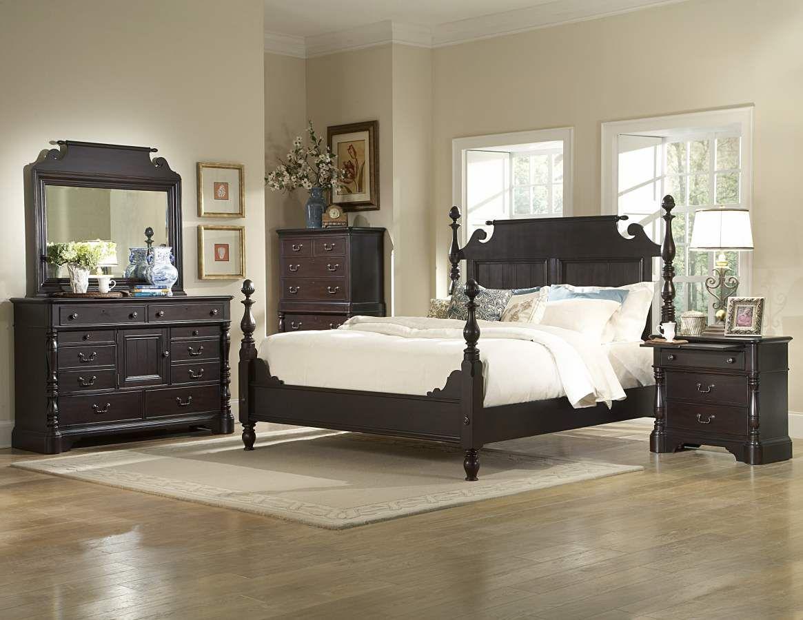 Jackson park dark cherry wood metal glass master bedroom set