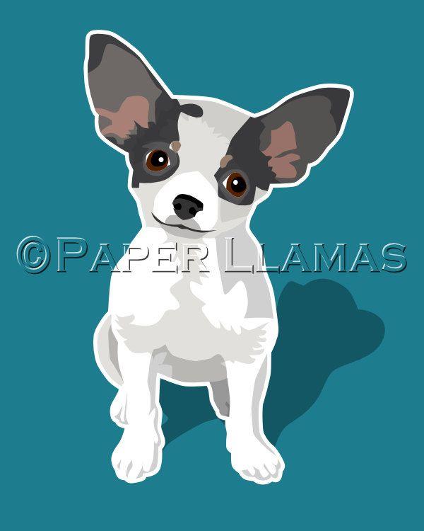 white Chihuahua art print  modern dog prints custom dog art 8x10 dog puppy pictures animal pet decor. $18.00, via Etsy.