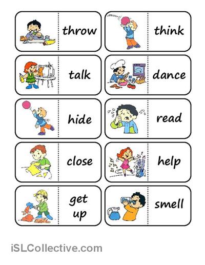 action words domino worksheet free esl printable worksheets made by teachers englanti. Black Bedroom Furniture Sets. Home Design Ideas