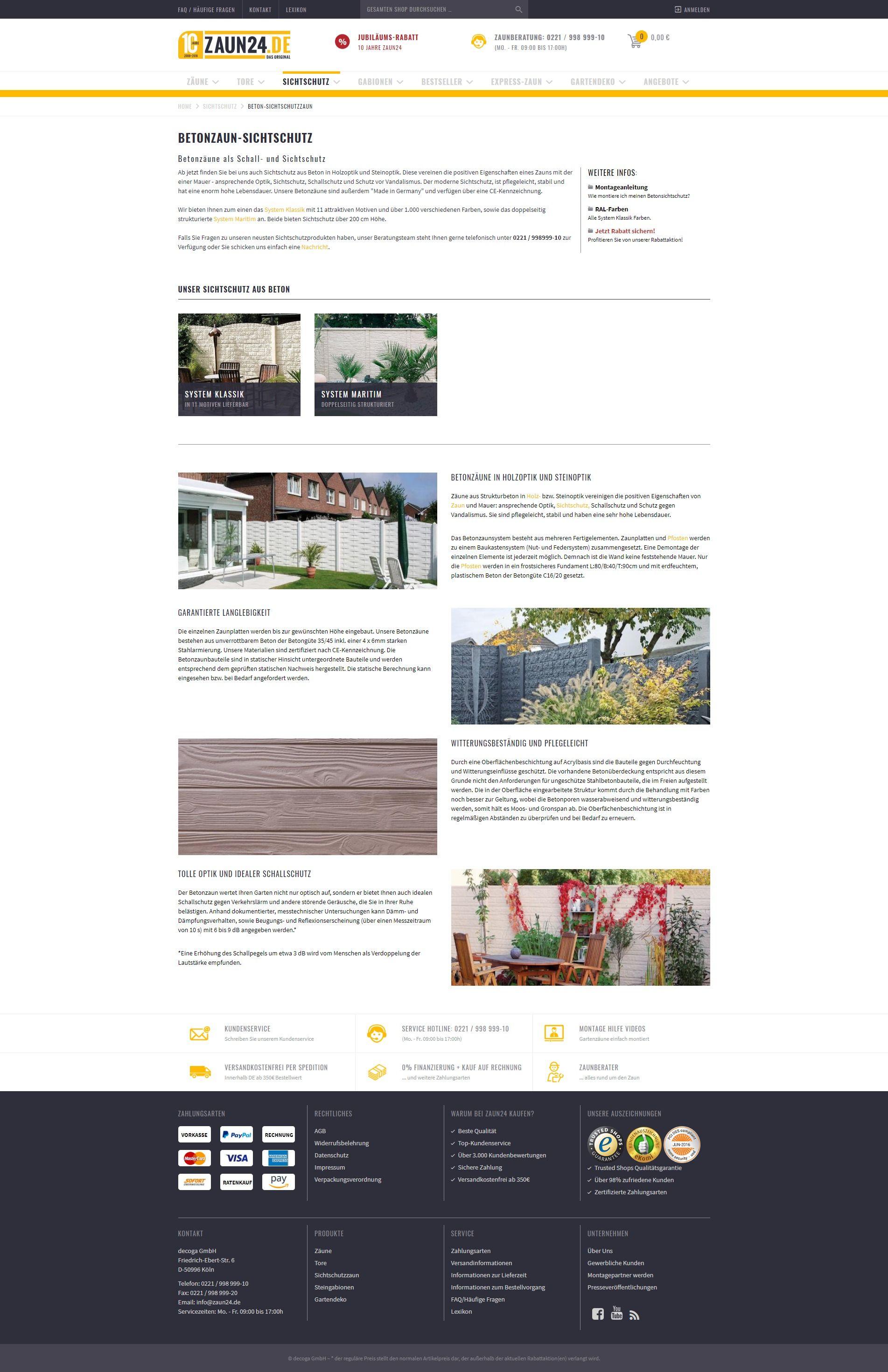 8b45e2535ff746 Beton-Sichtschutzzaun online kaufen bei ZAUN24. Schauen Sie doch mal rein!  - ZAUN24