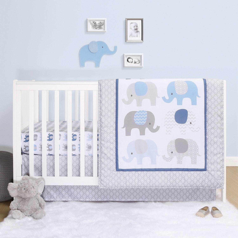 Ps By The Peanutshell Sleepy Elephant 3 Piece Crib Bedding Set Elephant Crib Bedding Elephant Crib Bedding Set Crib Comforter 3 piece crib bedding set