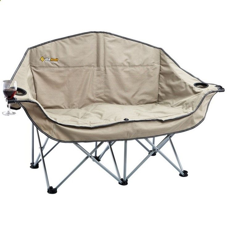OZtrail Moon Double Chair with Arms Camp Furniture Camping and Tramping