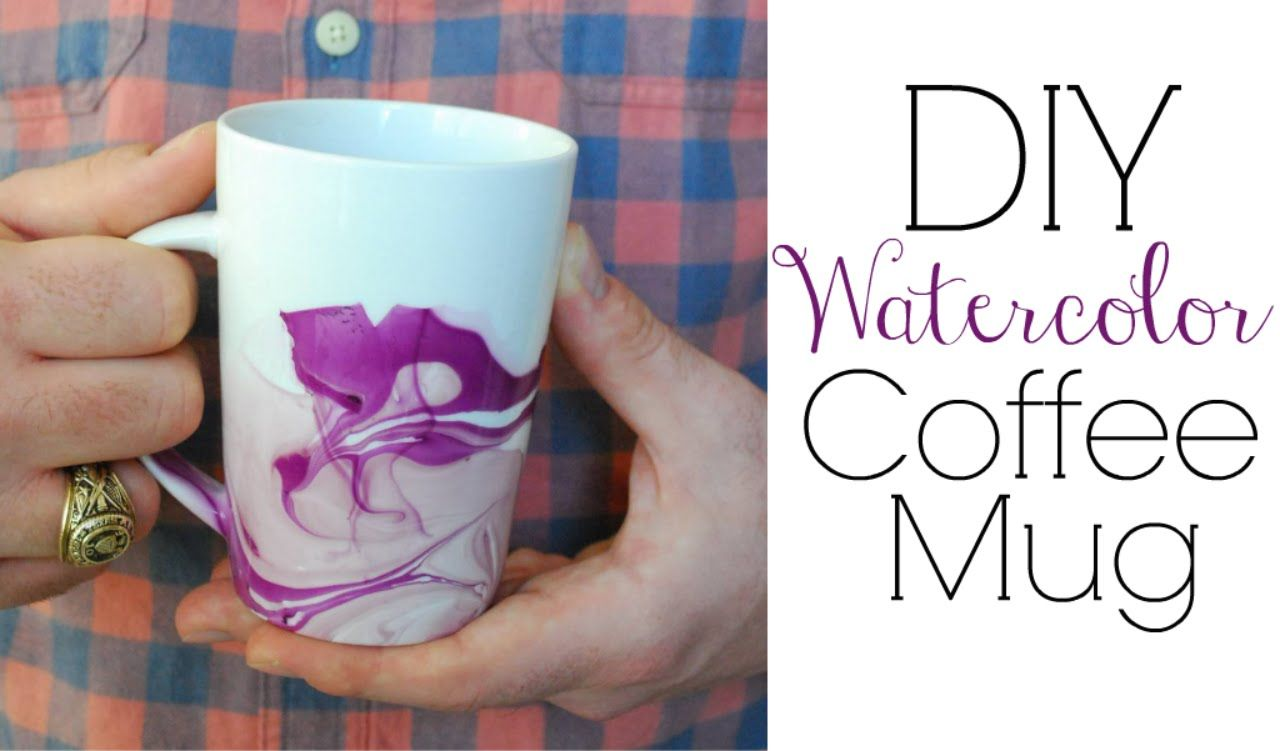 How to make a superb watercolor / ink effect on a mug.. as easy as abc !