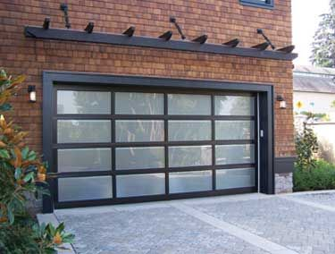 Lots Of Garage Door Ideas Here. Sleek Frosted Glass Garage Door With  Matching Pergola Trellis Really Compliments The Brick Exterior.