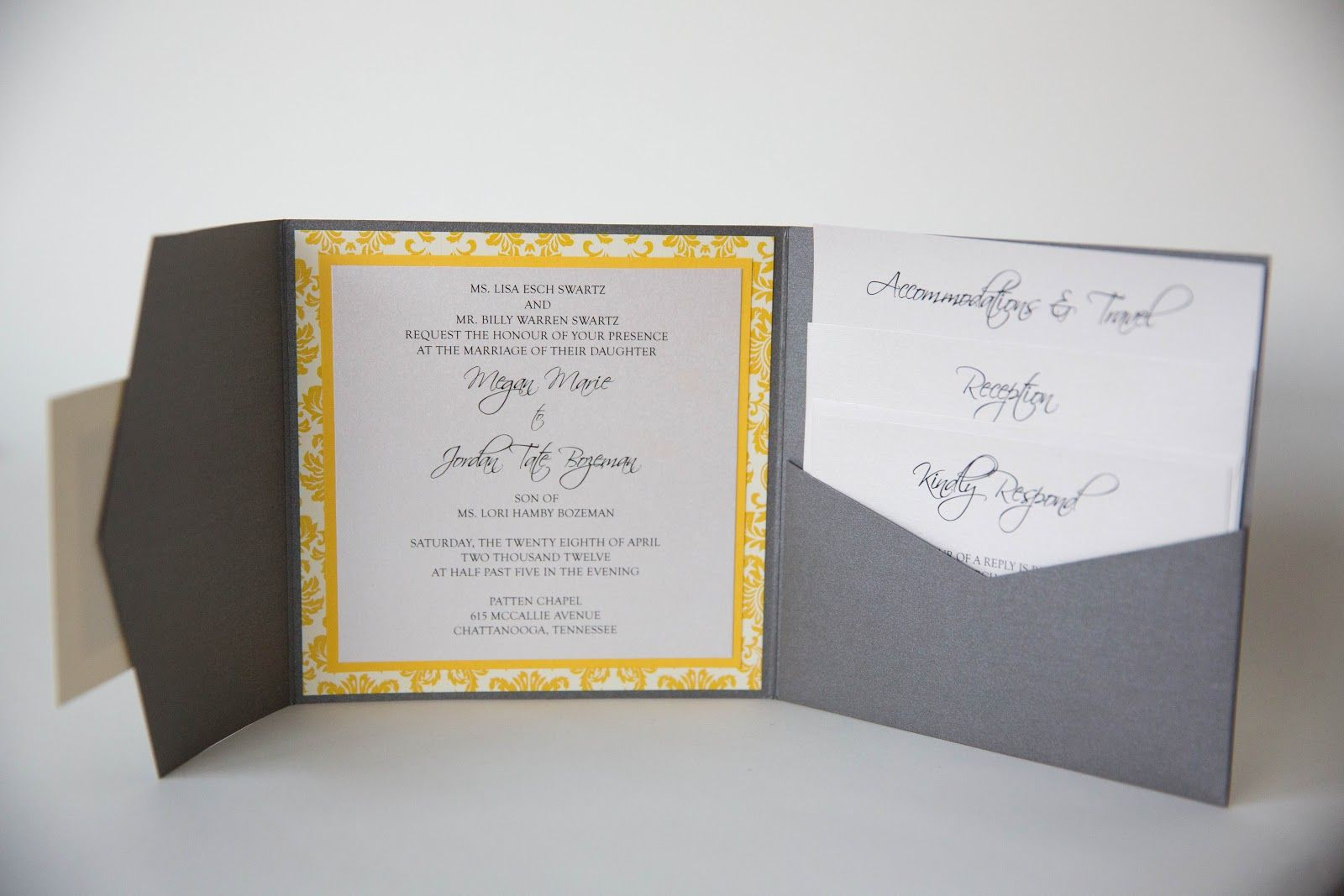 Grey And Yellow Wedding Invitations Sök På Google