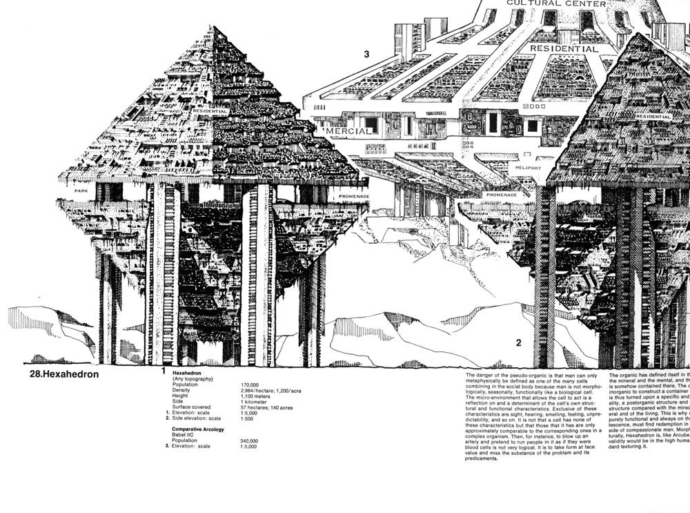 Arcology | The City in the Image of Man. This book made me want to become an architect, so I could make drawings this detailed all day with my Rapidographs.