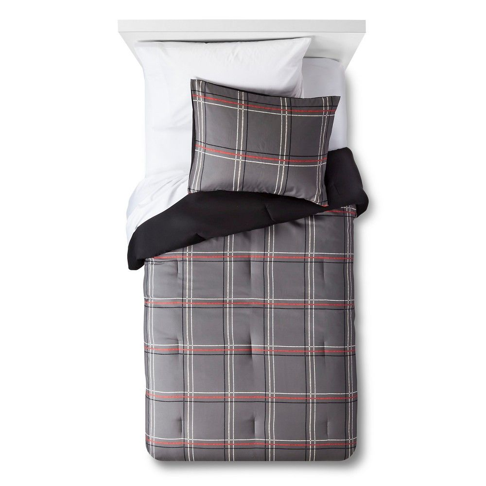 Hand Drawn Plaid Comforter Set Twin Grey 2pc Pillowfort