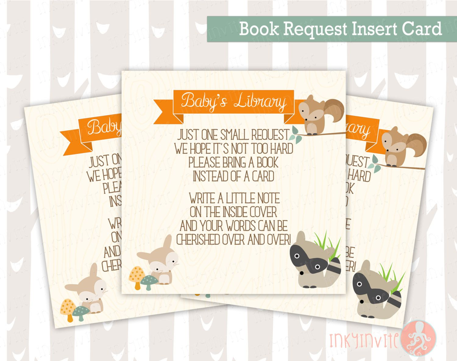 #BabyShowerInvitation Baby Shower Book Request Insert Card | Sweet Woodland Baby Boy or Girl Woodland Animals | Forest Baby Shower Invitation Add On's Invitation Woodland Forest Animals Forest Baby Shower Baby Deer Little Deer party Fox Baby Shower Woodland baby invite Book Request Card bring a book insert card woodland baby shower sweet woodland baby 3.00 USD InkyInvite