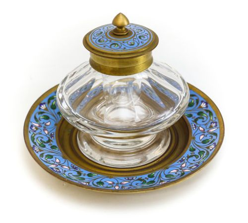 French-Crystal-and-Champleve-Enamel-on-Gilt-Bronze-Ink-Well
