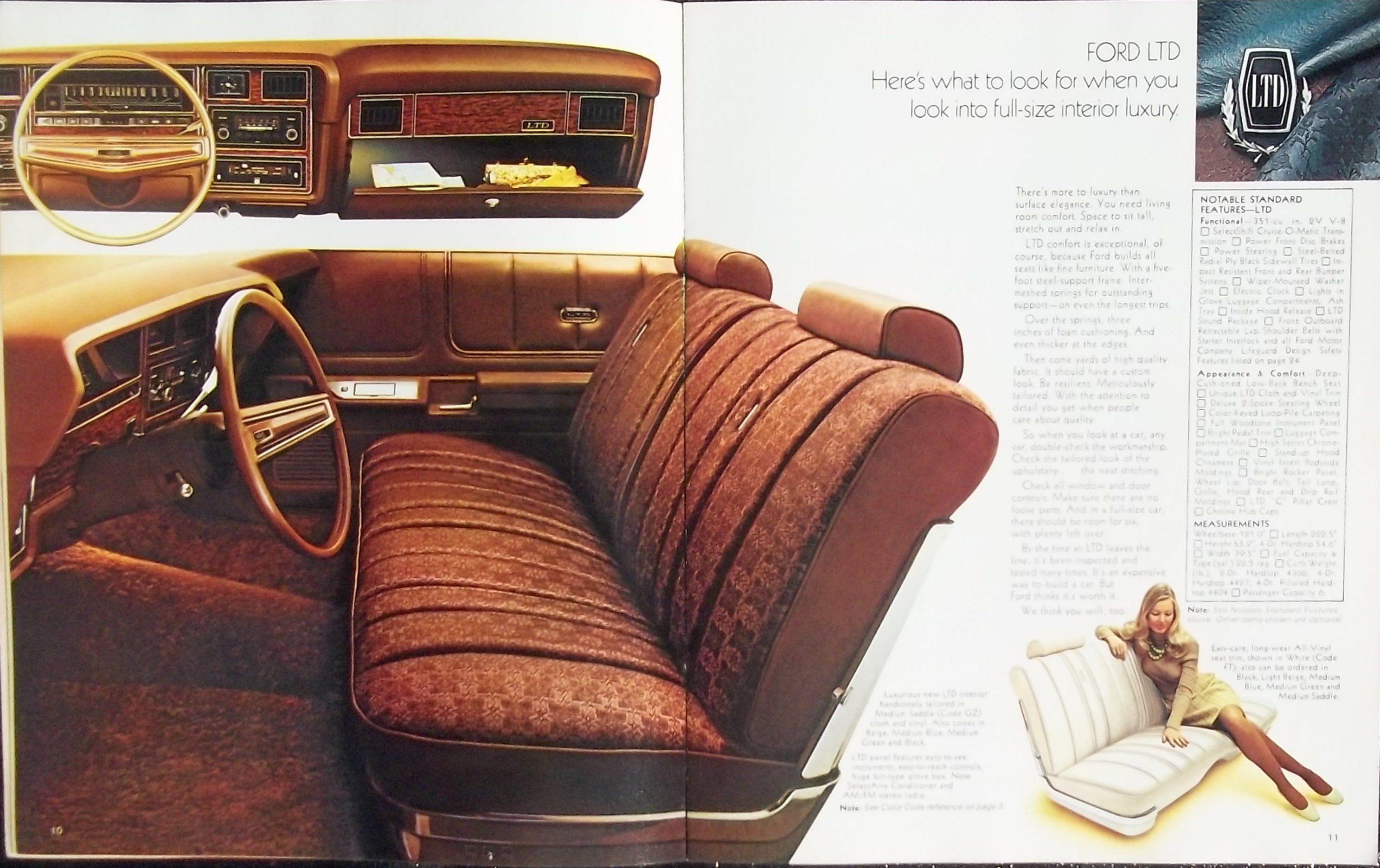 1974 Ford Ltd Brougham Ltd Galaxie 500 Custom 500 And Station Wagon Highlights Ford Ltd Car Advertising Ford
