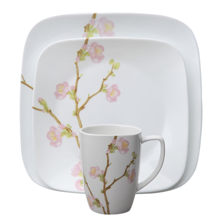 Corelle® Square™ Cherry Blossom 16-Pc Dinnerware Set - World Kitchen  sc 1 st  Pinterest & Corelle® Square™ Cherry Blossom 16-Pc Dinnerware Set - World Kitchen ...