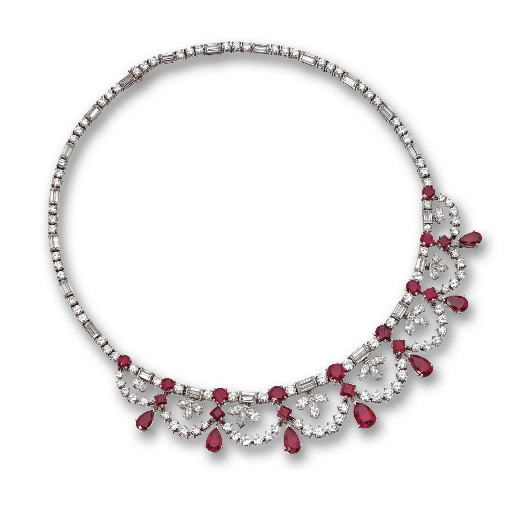 5cd68bcd152cc Ruby and diamond necklace, Tiffany & Co., circa 1950 Estimate 20,000 ...