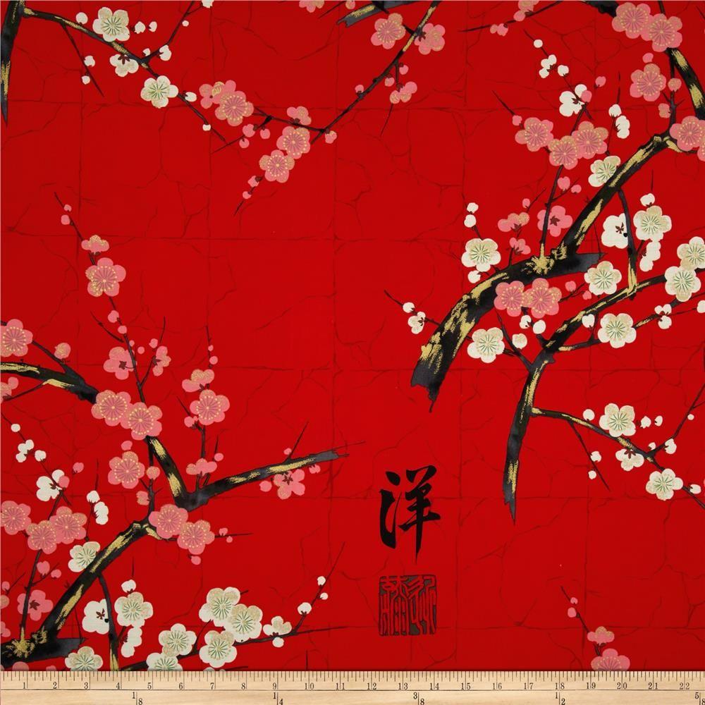 Indochine Golden Garden Metallic Red From Fabricdotcom