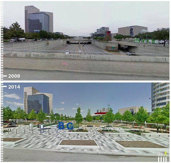 Freeway covered to become Klyde Warren Park, Dallas. Click image to tweet and visit the Slow Ottawa boards >> https://www.pinterest.com/slowottawa/