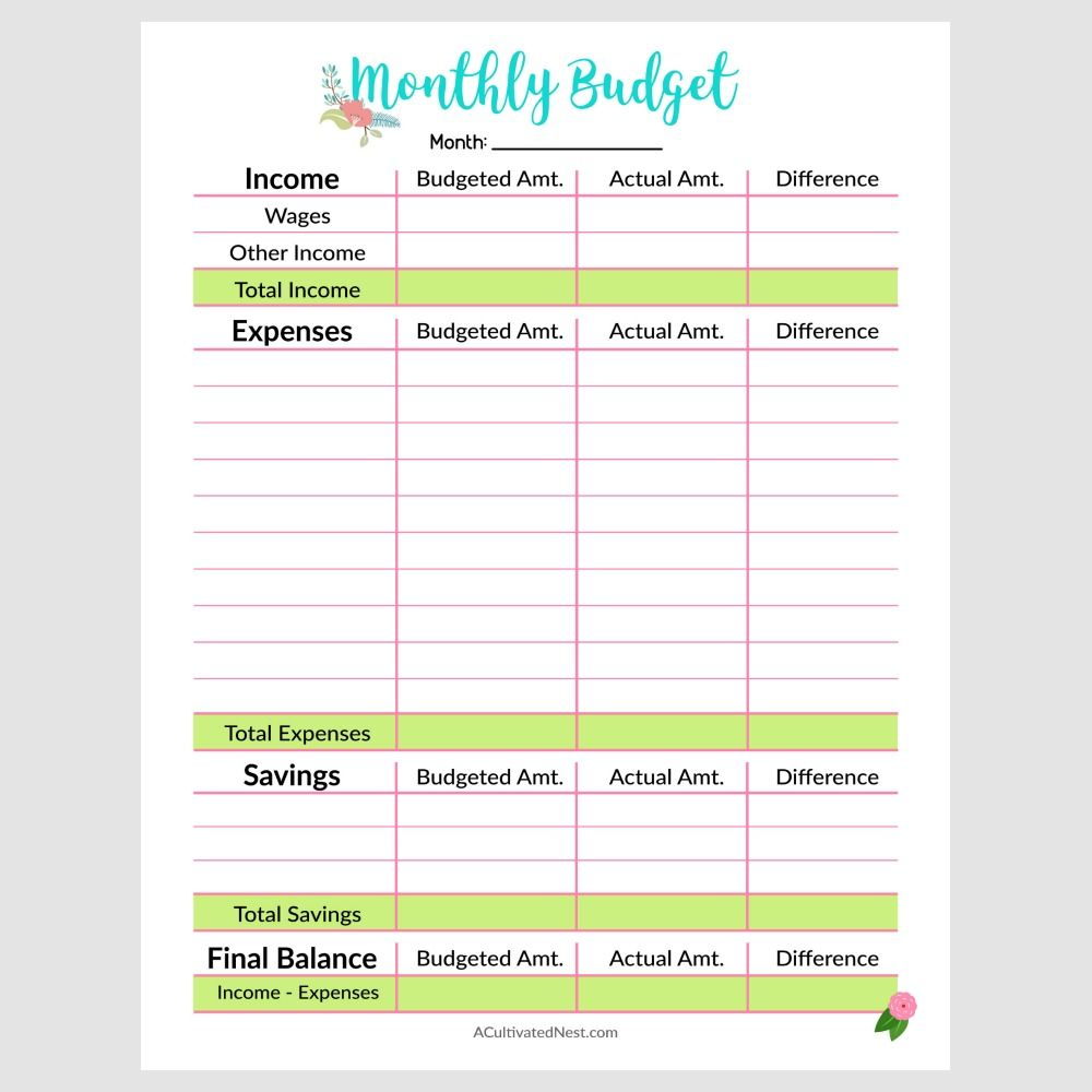 Printable Monthly Budget Template Budget template
