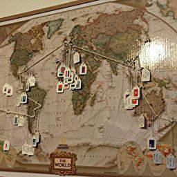 National Geographic Antique World Pinboard Map Wood Framed With Flag - World pinboard map wood framed