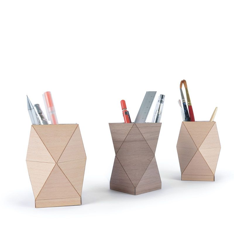 These Stunning Pencil Holders Are Part Of The Lignum Fold Collection