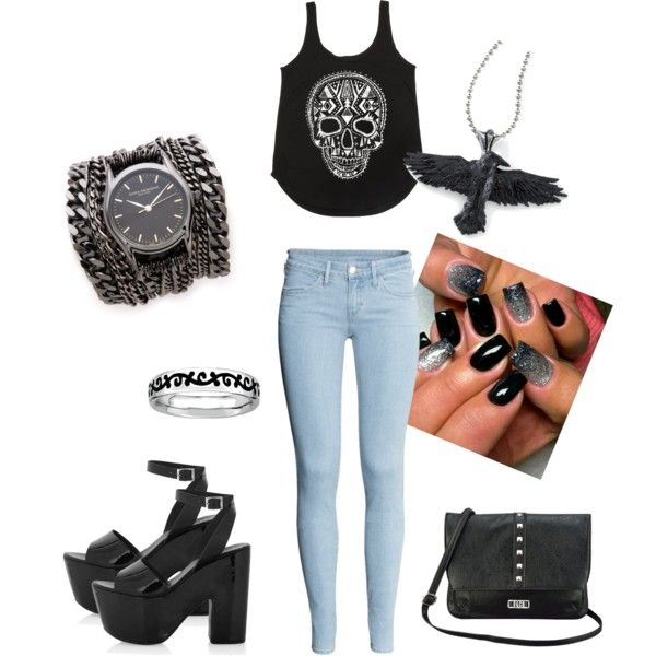 """""""Outfit #1 - Black♥Silver"""" by nratkh on Polyvore"""