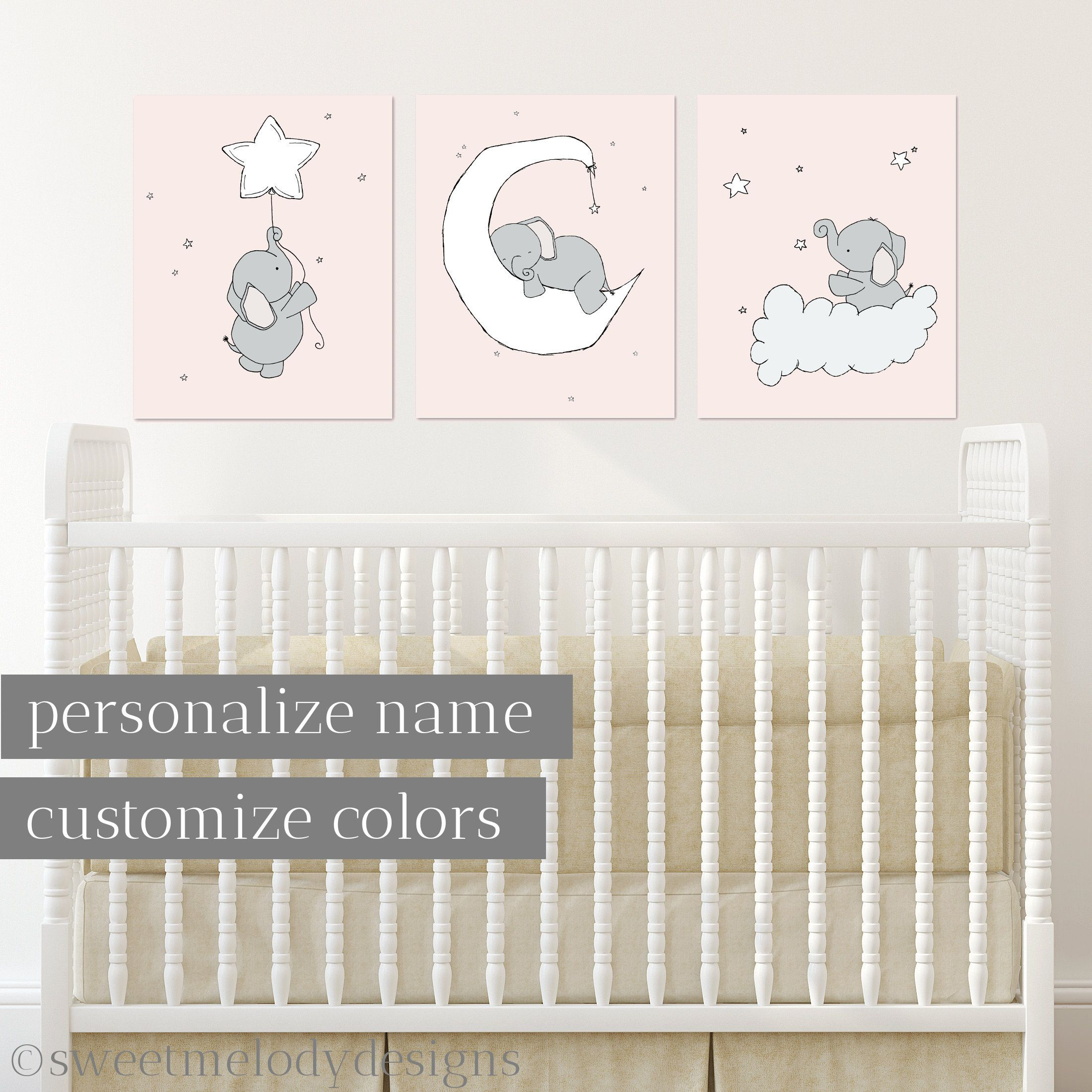 Animal Grey Star Baby Boy Nursery Prints Childrens Bedroom Decor Pictures Blue