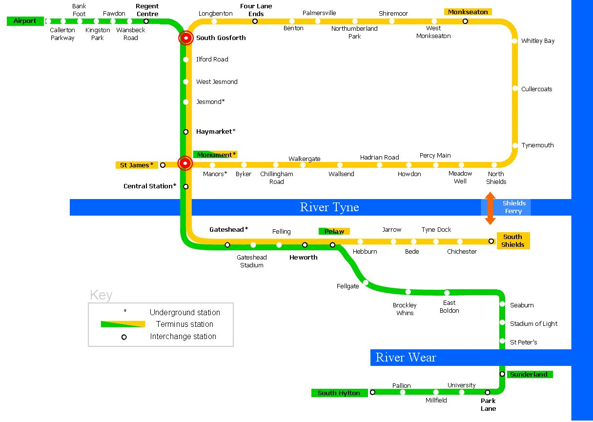 Variant of Newcastle Metro map Metro Pinterest Newcastle