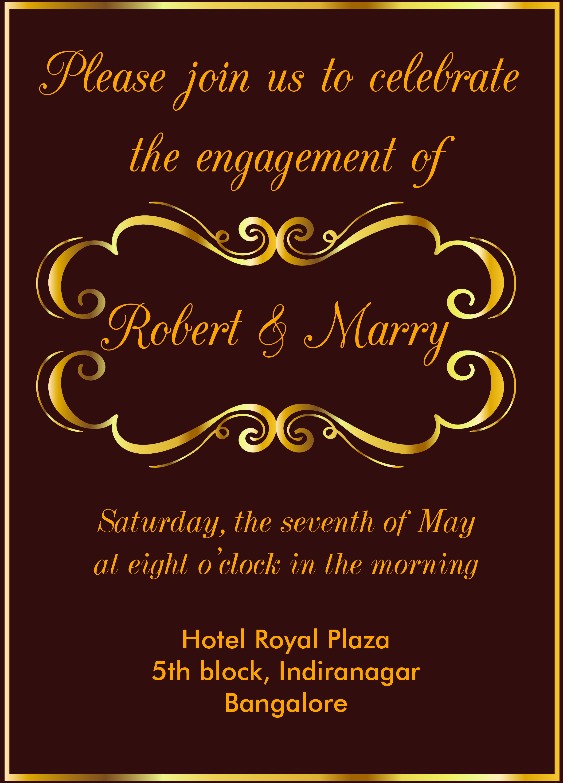 free gold themed engagement invitation card with wordings check it out