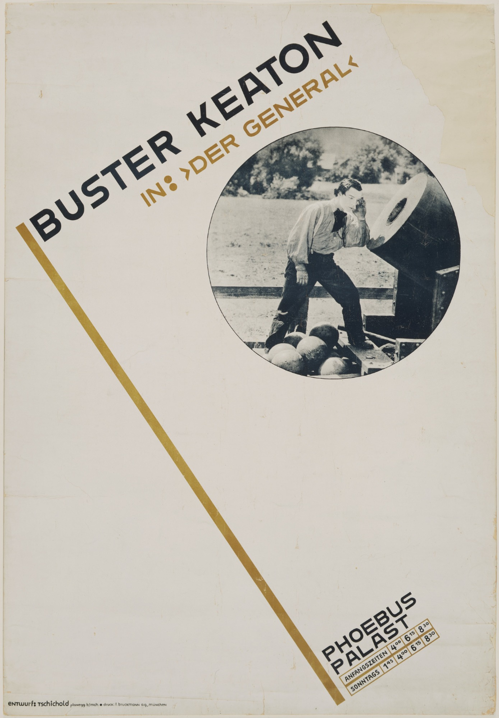 "Photo of Jan Tschichold. Buster Keaton in: ""Der General"". 1927 