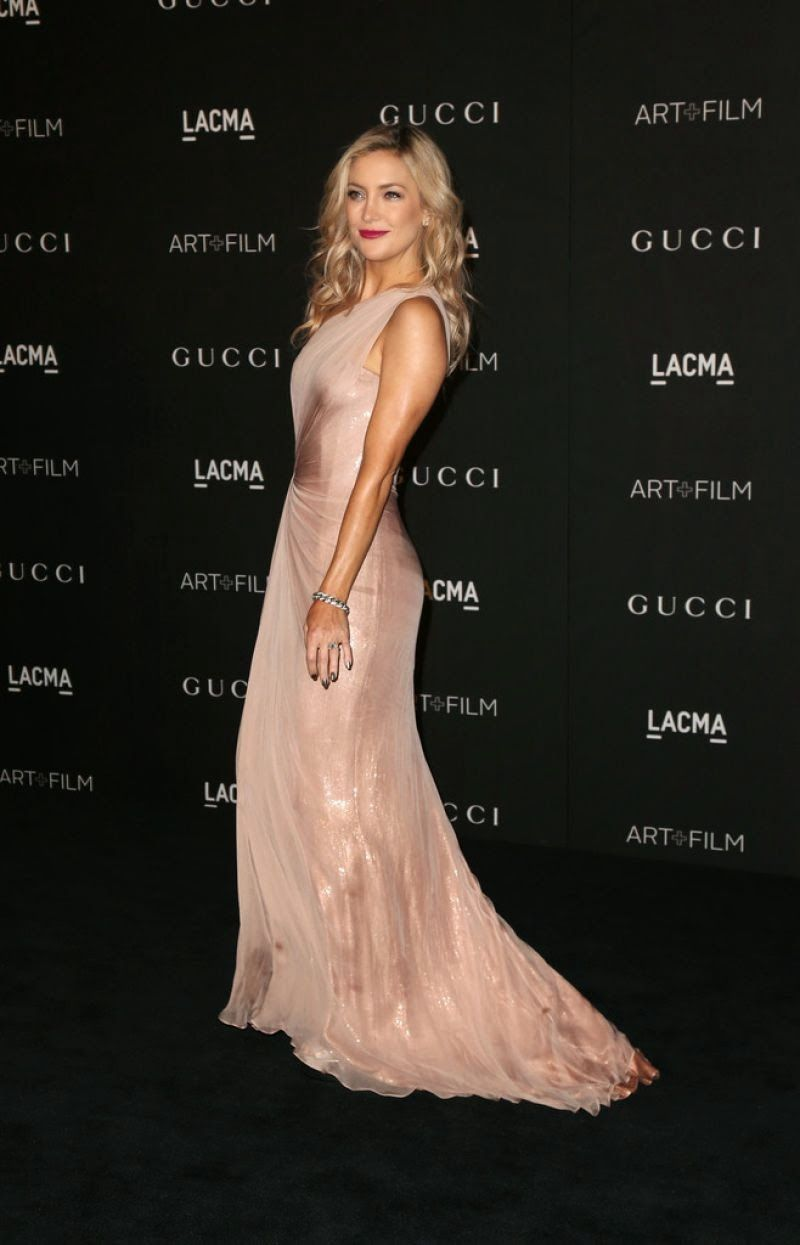 Kate Hudson arrives at the 2014 LACMA Art + Film Gala in a pale pink ...