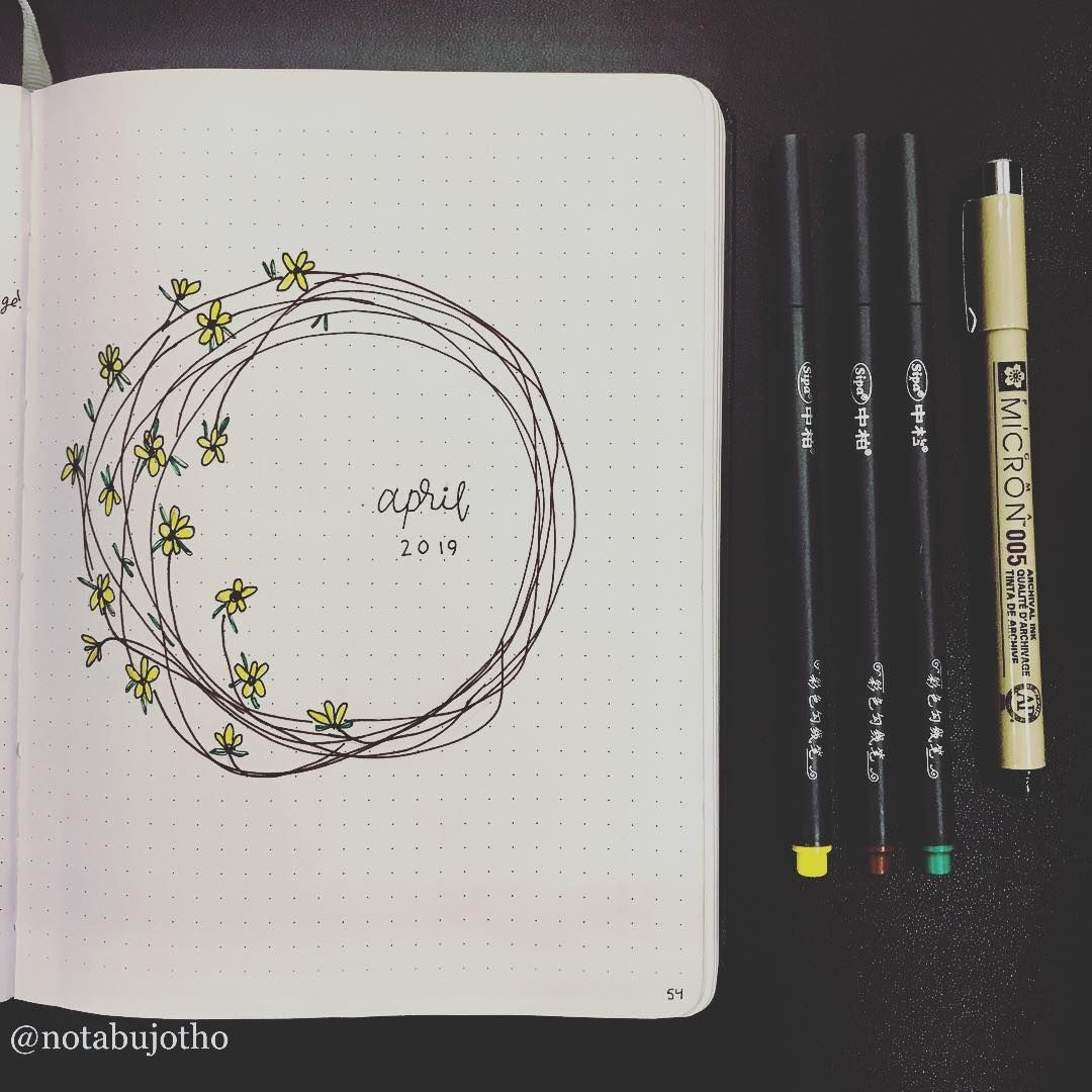 """Photo of Not A BuJo, Though on Instagram: """"April Cover! Felt like doodling even tho it…"""