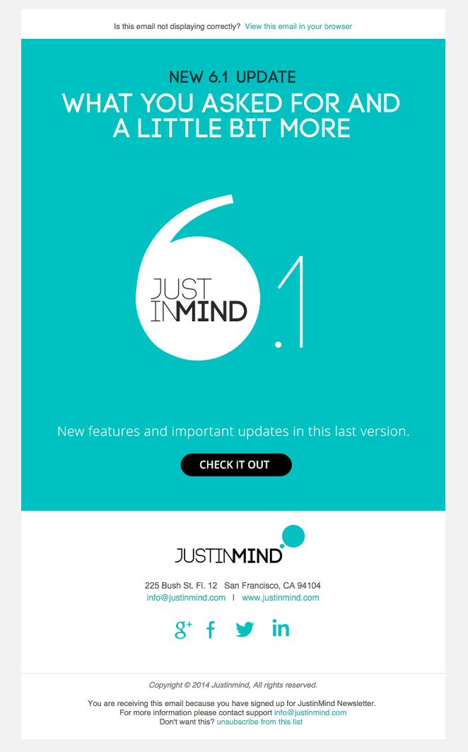 Justinmind newsletter