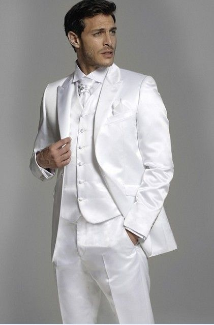 d08fa8fb8 Click to Buy << Fashion Style One Button White Groom Tuxedos Men's Wedding  Prom Suits Bridegroom Free Shipping (Jacket+Pants+Vest+Tie) #Affiliate