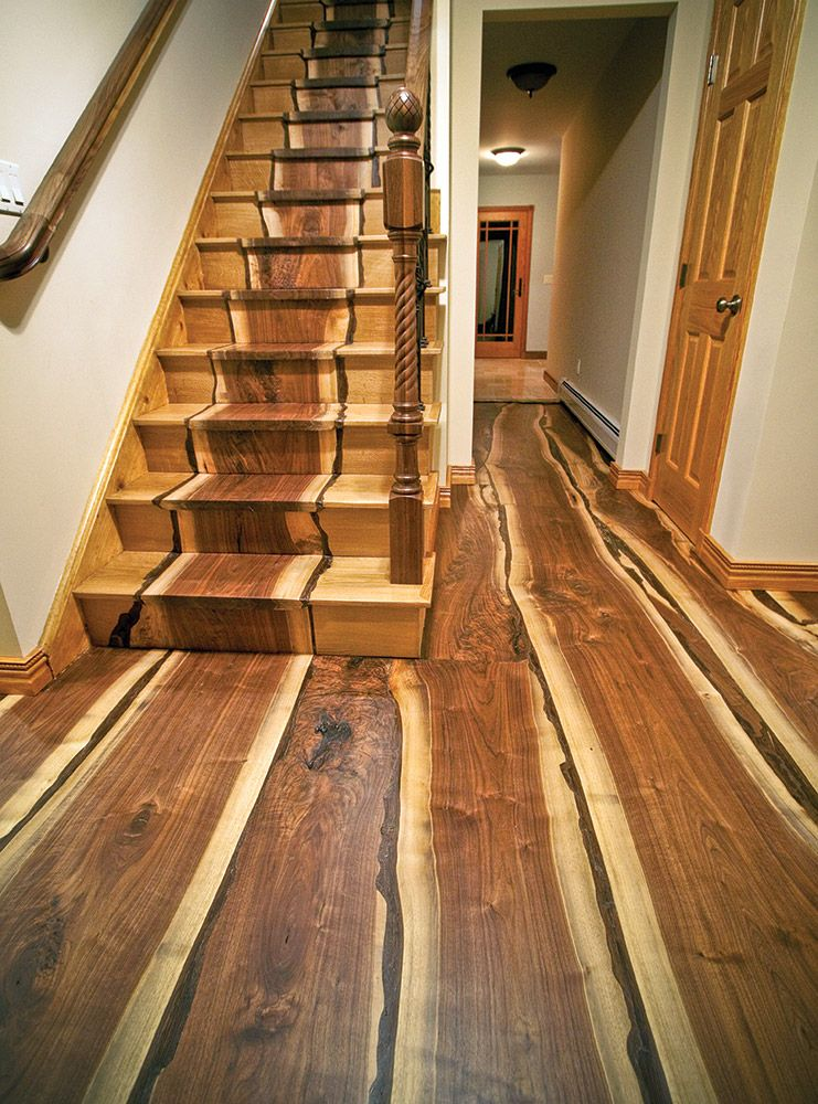 Made With Hardwood Solids With Cherry Veneers And Walnut: Stairs And Floor Made From A Tree Downed By Hurricane