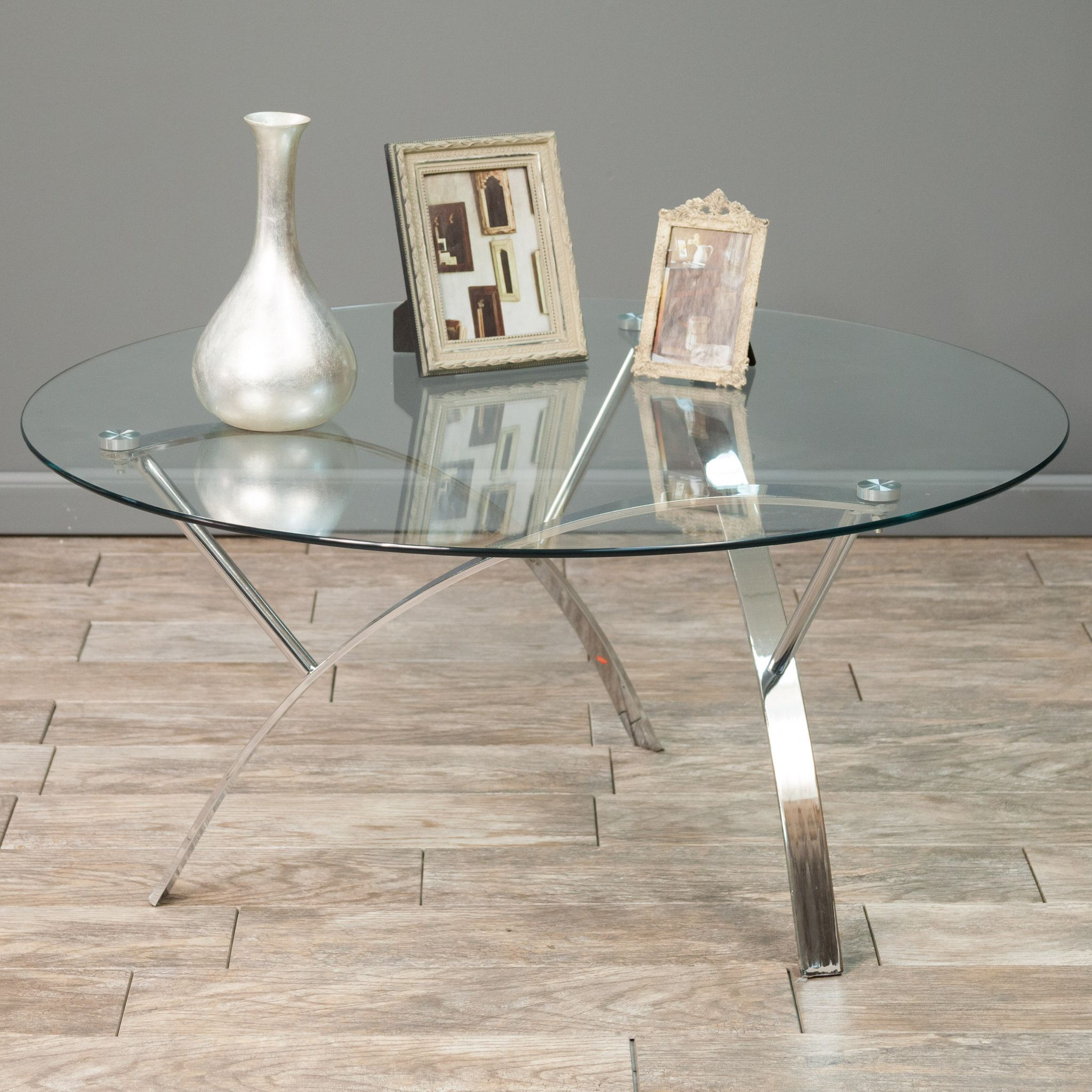 Davina Tempered Glass Round Accent Coffee Table w/ Chrome
