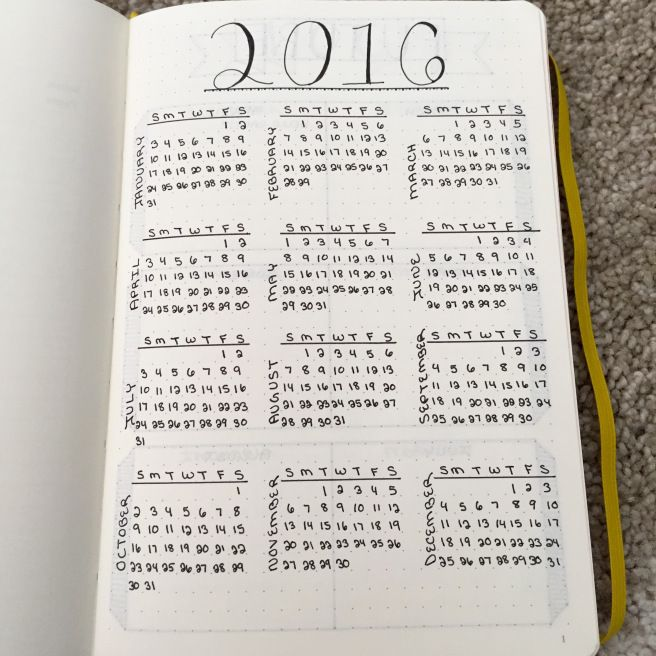 Calendar Ideas For Bullet Journal : Yearly calendar in my bullet journal planners