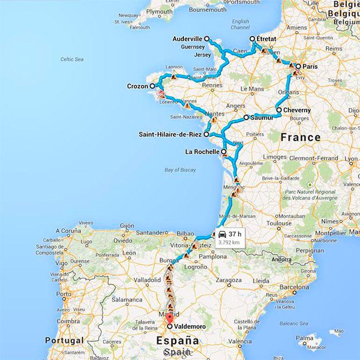 Bretaña Y Normandia Mapa.Viaje A Francia 2014 Valdemoro Loira Paris Normandia